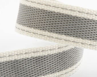 Ribbon - 15mm x 10m Cotton Twill Ribbon - Silver (Grey)