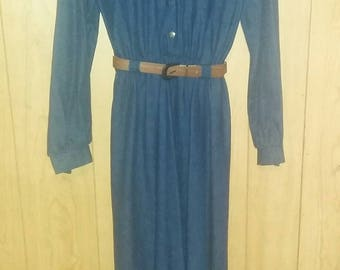 70s/80s NWOT Denim Jean Long Midi Dress size M L