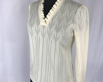 50s Tour Time Cream Eyelet Sweater Sz M