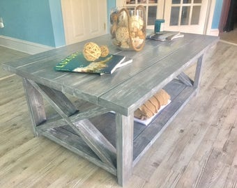 Rustic farmhouse coffee table | Handmade