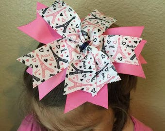 Pink Paris Effiel Tower Hair Bow