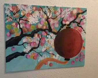 Cherry Blossom Tree and Lantern Painting