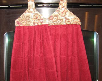 Hanging Dish Towel - Red with Tan and Red Jacobean Top