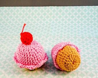 crochet cupcake with cherry//cupcake//crochet