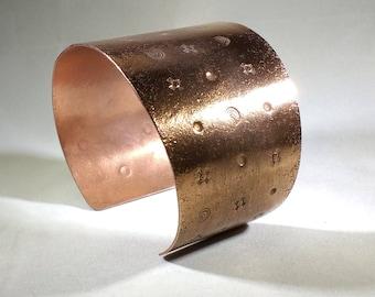 Stamped copper wrist cuff, copper wrist cuff. copper cuff