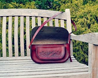 Red Leather Bag, Tooled Handbag, Handmade Crossbody Bag
