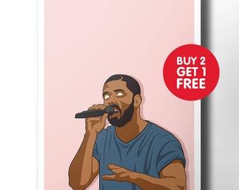 Drake poster / wall art / wall decor / rap poster / hip hop / rap artist / dope art / minimalist music poster / rapper / ovo / artwork