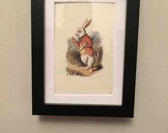 Classic Alice in Wonderland Illustration - framed Postcard - White Rabbit