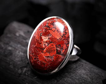 Large Unique Red Jasper Ring 8 | Sterling Silver Ring | AAA Beautiful Oval Genuine Natural Red Jasper Gemstone