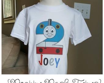 Thomas the Train Birthday Shirt!!  Boys Birthday shirt! Any age and name! 2t 3t 4t 5t 6/6x