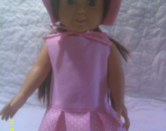 "Pink 18"" doll  dress and bonnet"
