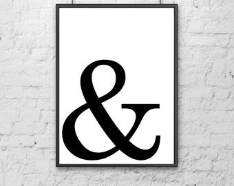 Ampersand Printable - Art Print, Home Decor, Modern Wall Art, Apartment Poster