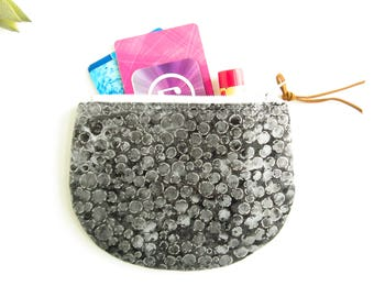Black Zipper Coin Purse, Round Zipper Pouch, Silver Bubbles Coin Pouch, Jewelry Case, Womens Mini Wallet, Credit Card Case, Small Zip Wallet