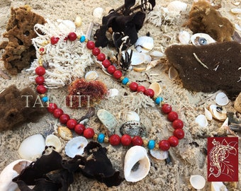 Red Sponge Coral and Turquoise Necklace