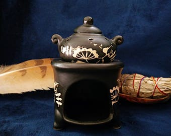 Black Ceramic Oil Burner / Essential oil Diffuser / Cauldron / Tealight Holder & Diffuser
