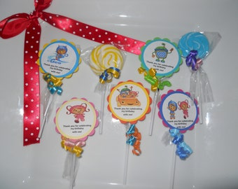 """24 Team Umizoomi 2"""" Candy Swirl Lollipop Theme Birthday Personalized Party Favors with custom tags"""