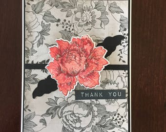 Thank you, Altenew Peony stamp. red flower, black floral pattern paper, blank card, glitter, sparkle