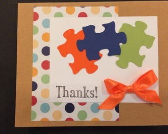 Handmade Thank You cards, cheerful design using puzzle pieces and bright colors