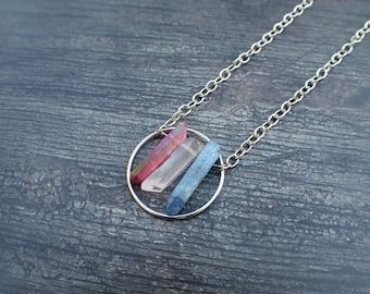 Red White Blue Ab Quartz Point Patriotic Silver Boho Necklace *Free Gift*