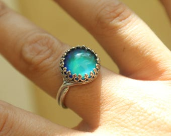 Crystal Color Change Mood Ring, Sterling silver, Crown Bezel, Non-tarnish, Adjustable, 12mm, Boho Festival Ring Free Gift