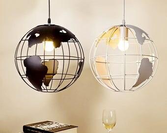 hanging globe light , earth chandelier pendant , vintage, cafe lamp