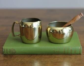 Small Brass Sugar and Creamer