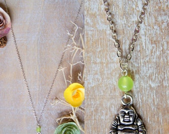 Laughing Buddha chain necklace and gemstone bead