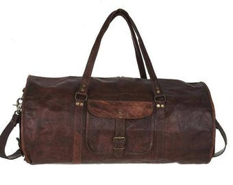 The Route 66 | Vintage Rugged Leather Duffel Bag