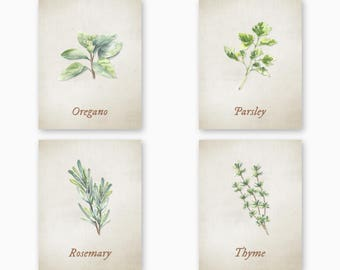 KITCHEN HERBS PRINTABLES, Farmhouse Kitchen, Digital Kitchen Art, Rustic Kitchen, Instant Download, Set of 8 Designs, Kitchen Herb Art