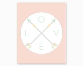 TRIBAL NURSERY ART, Love Arrows, Tribal Nursery Printable, Arrows Love Art, Boho Nursery, Girl Nursery Art, Digital Download, Nursery Art