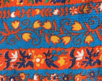 Vintage Cotton Corduroy Orange Blue Floral Stripe Fabric fashion apparel upholstery pants jumper dress chair home decor