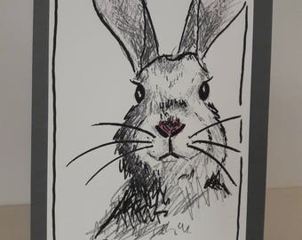 Hand drawn Greeting Card Bunny