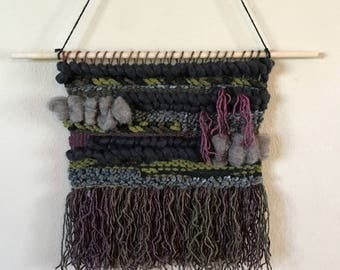 Green, Burgundy, and Charcoal Wall Weaving