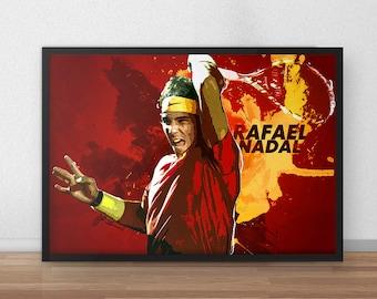 Rafael Nadal - Tennis - Tennis Gifts - Tennis decor - Tennis art - Sports decor - Sports Gifts - Roger Federer - Djokovic - Dorm Decor