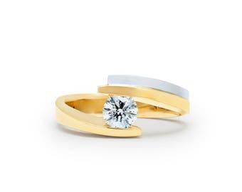 Diamond Ring Yellow Gold Wedding Band Female Diamond Yellow Gold Ring Womens Diamond Wedding Ring Woman Engagement Diamond Band Anniversary