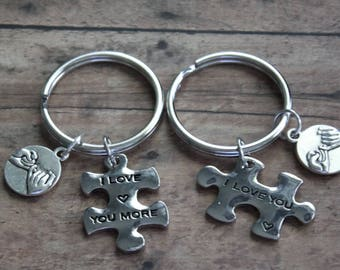 Matching I Love You, I Love You More Puzzle Pieces Key Chains, With a Pinky Promise Charm, His & Hers, Hers and Hers, His and His