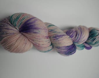 Hand-dyed bambino sock yarn - SW Merino / Bamboo - 100g - purple power - FREE SHIPPING