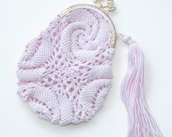 Handmade crochet coin purse with clip