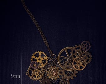 Steampunk necklace Heart Decoration