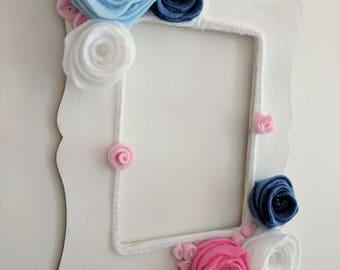 Felt rose frame, little girls room, young girl gift