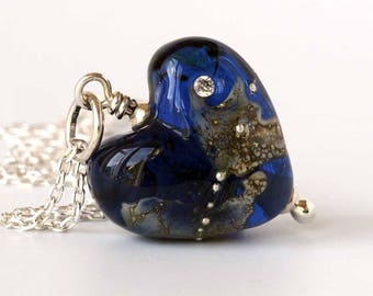 Indigo Love Heart Necklace, Lampwork Glass Heart Pendant on Sterling Silver Chain