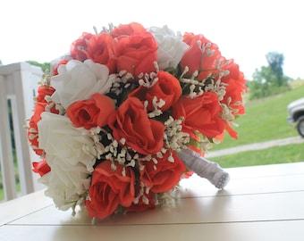 Watermelon bouquet, peach bouquet, white bouquet, bridal bouquets, groom boutineer, bouquet and boutineer set