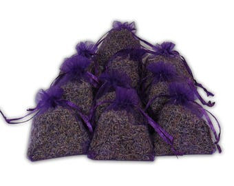 Lavender Sachets Wedding Favor Bags, 12PCS Bridal And Baby Shower Favors Aromatherapy, Potpourri Dried Purple Lavender Buds Sets - LS001-2