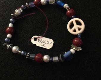 Patriotic Red White and Blue Beaded Bracelet