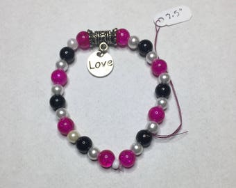 Fuchsia and Black Beaded Bracelet with Love Charm