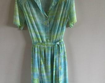 Vintage 80s Summer Dress Mint Green Floral Print Tea Party Dress Size M