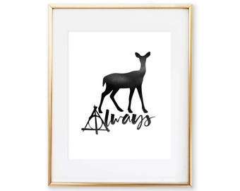 Harry Potter Wedding - Always Deathly Hallows, Harry Potter Wedding gift, Harry Potter Art Print, Anniversary Gift, Harry Potter Decoration