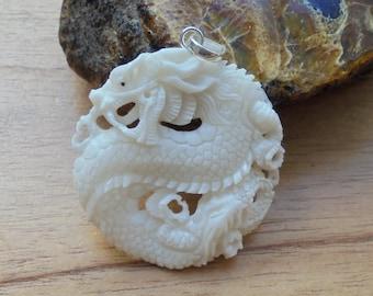 Hand Carved Dragon Bone Pendant, Bali Bone Carving DRG 02