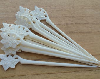 1 Prong Flower Bone Hair Sticks, Hair Pin, Hair Fork, Hair Accessories HS 76-1