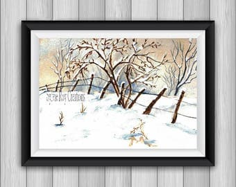 digital download, print, winter landscape, snow, watercolor, instant wall decor, living room, office. Download image